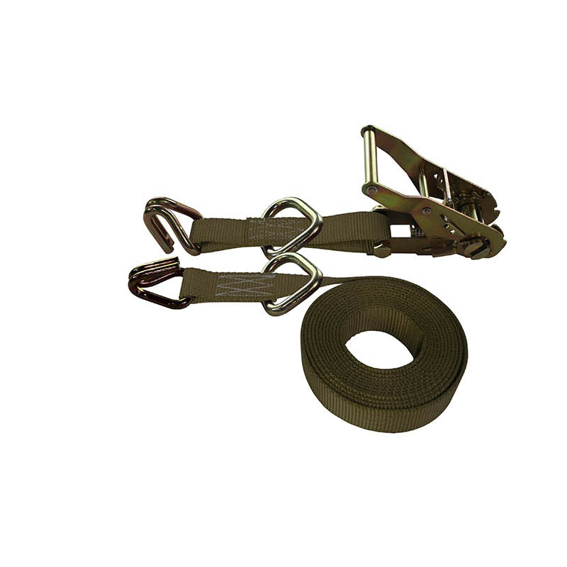 1-Inch Ratchet Strap With Wire Hooks And D-Rings and Brown Webbing