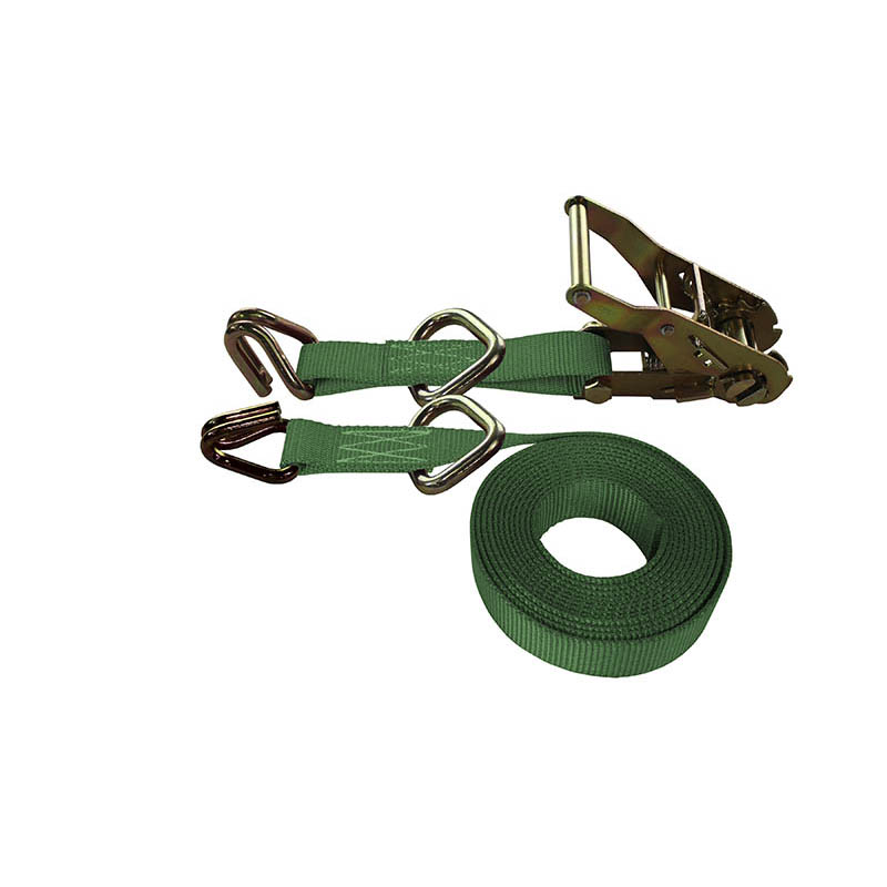 1-Inch Ratchet Strap With Wire Hooks And D-Rings and Green Webbing