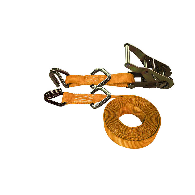 1-Inch Ratchet Strap With Wire Hooks And D-Rings and Orange Webbing