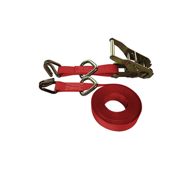 1-Inch Ratchet Strap With Wire Hooks And D-Rings and Red Webbing