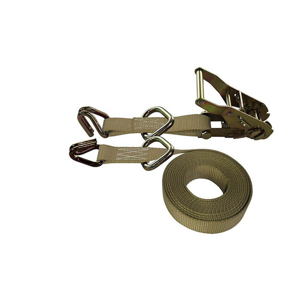 1-Inch Ratchet Strap With Wire Hooks And D-Rings and Tan Webbing
