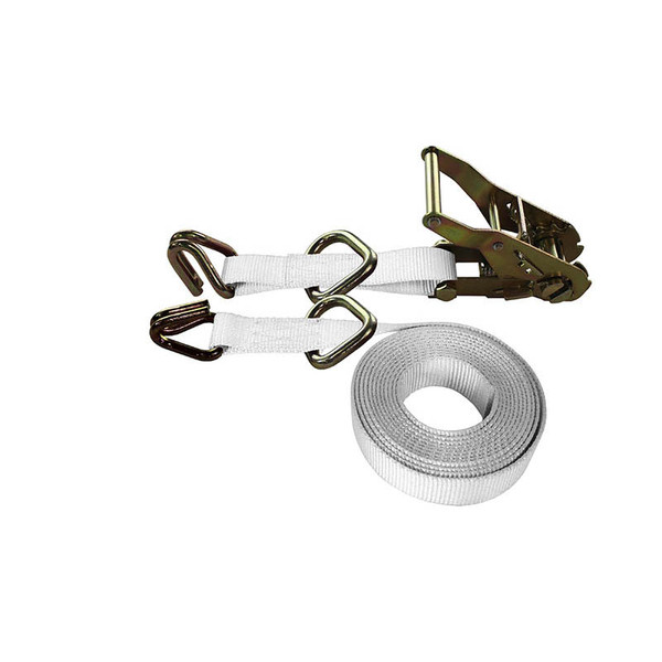 1-Inch Ratchet Strap With Wire Hooks And D-Rings and White Webbing