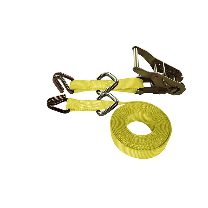 1-Inch Ratchet Strap With Wire Hooks And D-Rings and Yellow Webbing