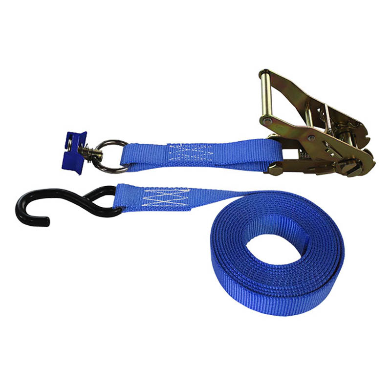 1-Inch Ratchet Strap With L-Track Fitting And Coated S-Hook and Blue Webbing