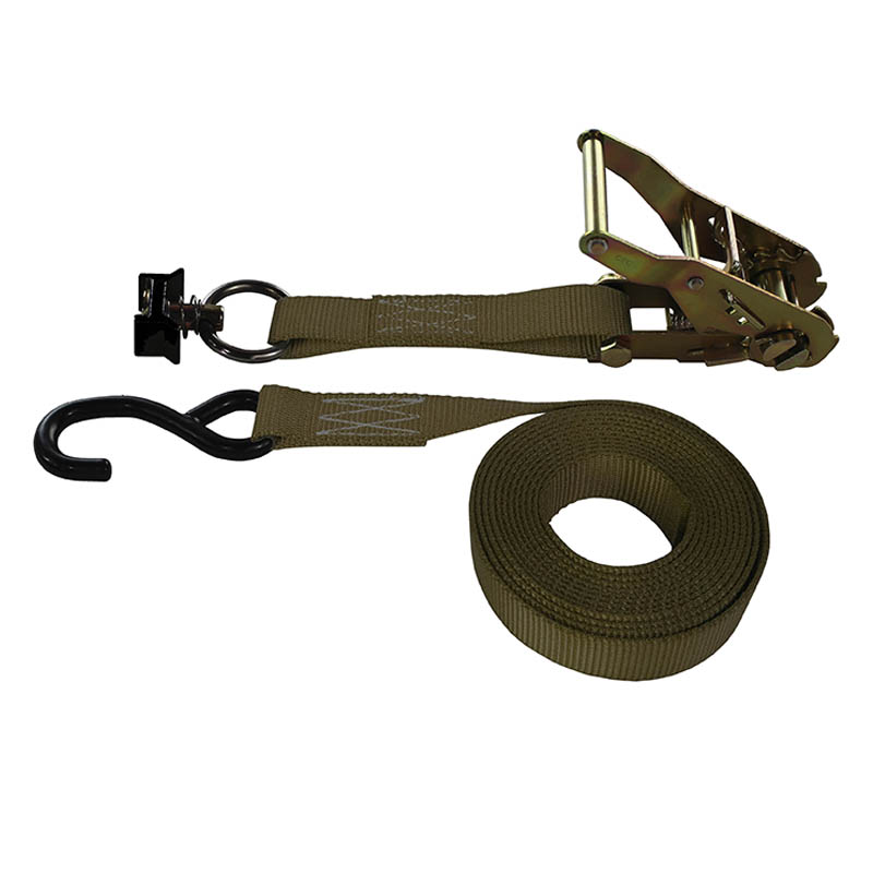 1-Inch Ratchet Strap With L-Track Fitting And Coated S-Hook and Brown Webbing