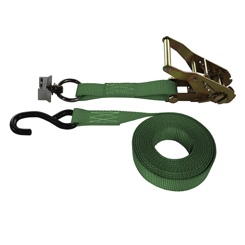 1-Inch Ratchet Strap With L-Track Fitting And Coated S-Hook and Green Webbing