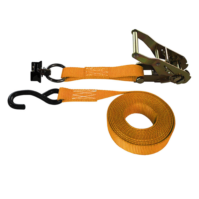 1-Inch Ratchet Strap With L-Track Fitting And Coated S-Hook and Orange Webbing