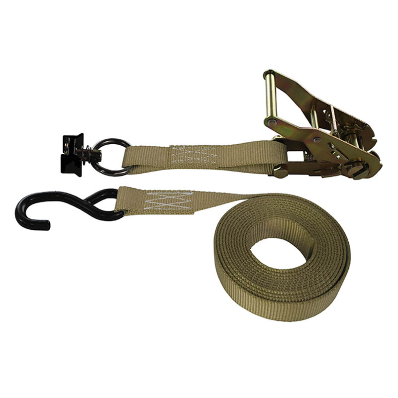 1-Inch Ratchet Strap With L-Track Fitting And Coated S-Hook and Tan Webbing