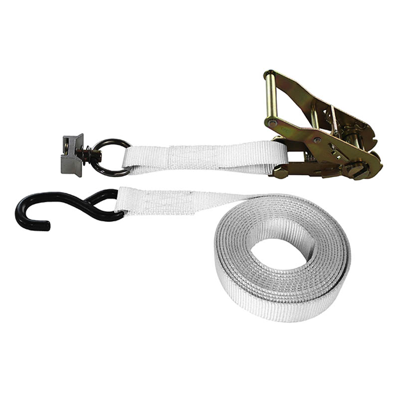1-Inch Ratchet Strap With L-Track Fitting And Coated S-Hook and White Webbing