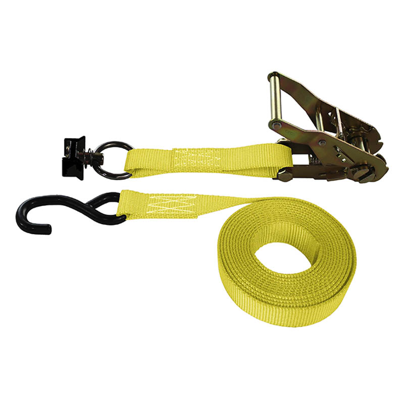 1-Inch Ratchet Strap With L-Track Fitting And Coated S-Hook and Yellow Webbing