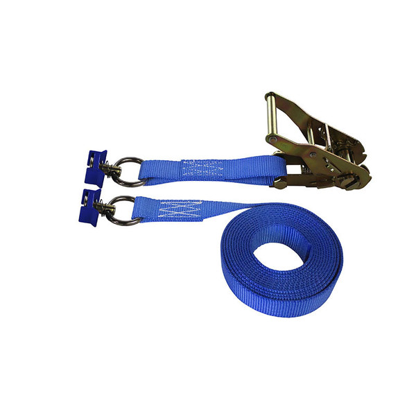 1-Inch Ratchet Strap With L-Track Fittings and Blue Webbing