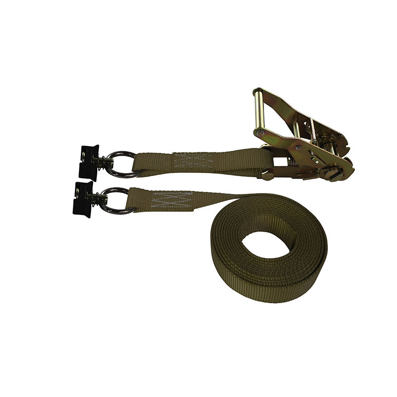 1-Inch Ratchet Strap With L-Track Fittings and Brown Webbing