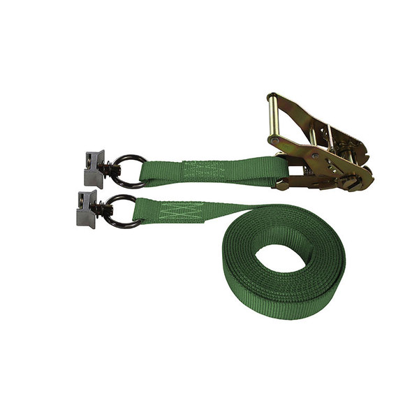 1-Inch Ratchet Strap With L-Track Fittings and Green Webbing