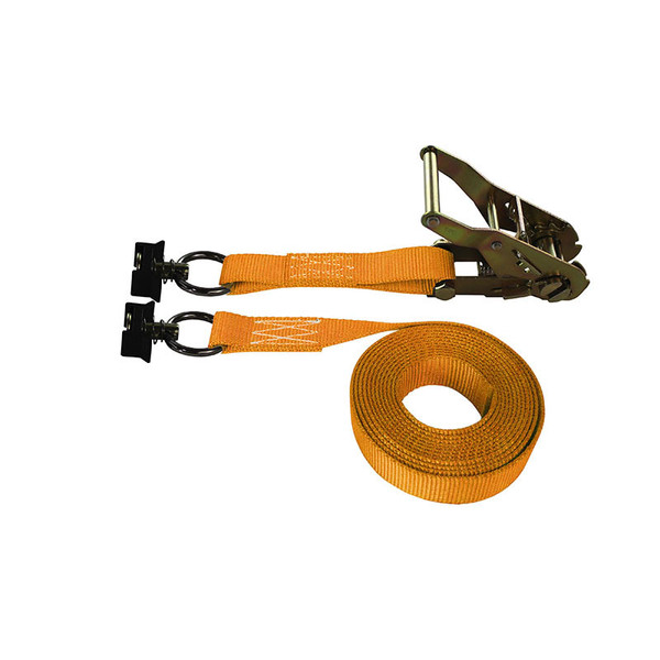 1-Inch Ratchet Strap With L-Track Fittings and Orange Webbing