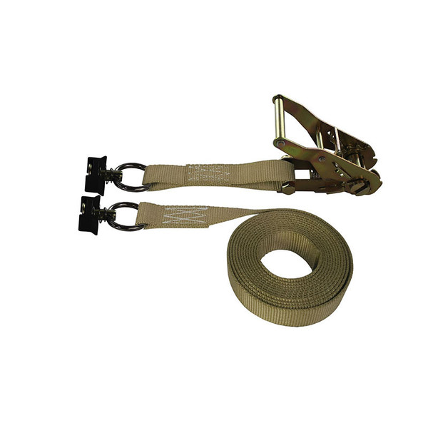 1-Inch Ratchet Strap With L-Track Fittings and Tan Webbing