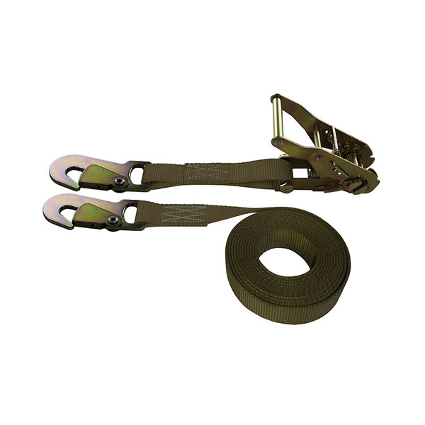 1-Inch Ratchet Strap With Snap Hooks and Brown Webbing