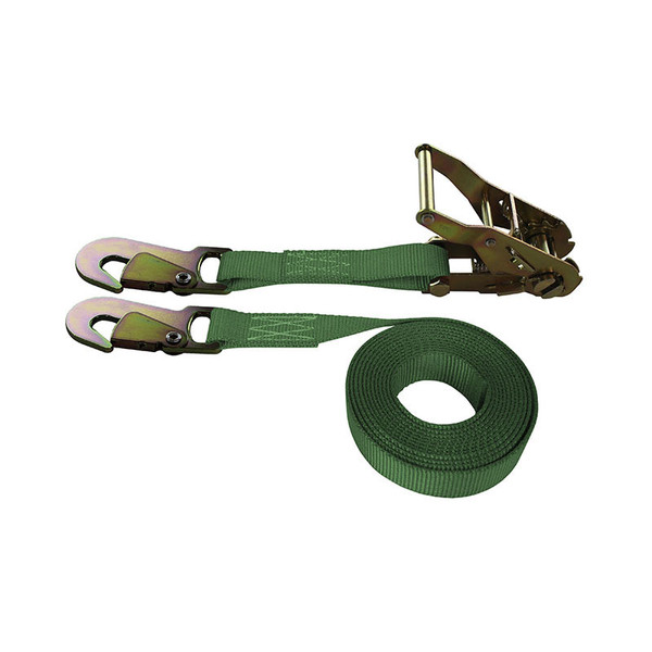1-Inch Ratchet Strap With Snap Hooks and Green Webbing