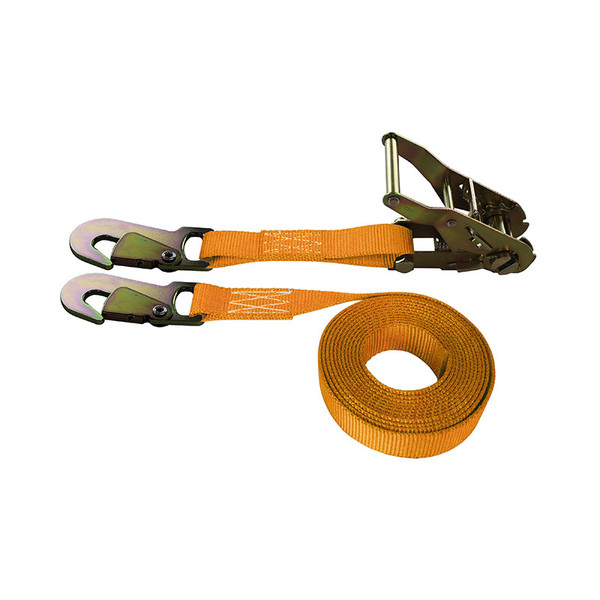 1-Inch Ratchet Strap With Snap Hooks and Orange Webbing