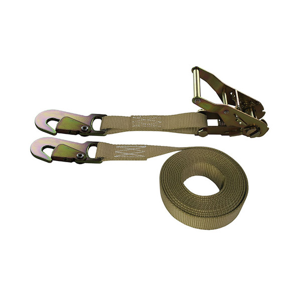 1-Inch Ratchet Strap With Snap Hooks and Tan Webbing