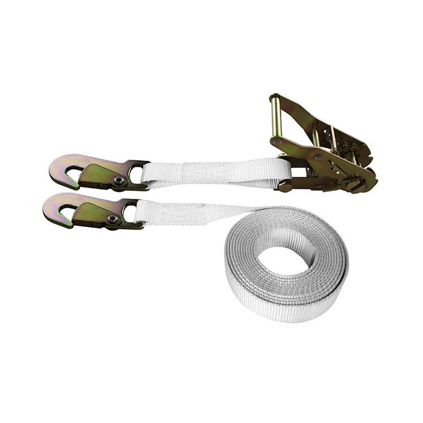 1-Inch Ratchet Strap With Snap Hooks and White Webbing
