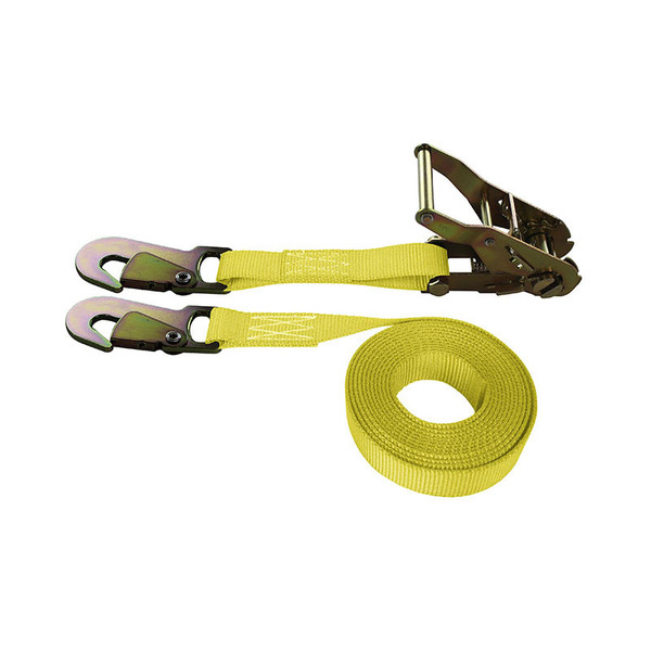 1-Inch Ratchet Strap With Snap Hooks and Yellow Webbing