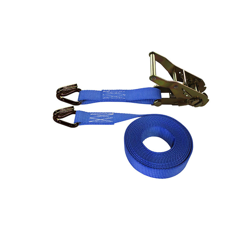 1-Inch Ratchet Strap With Wire Hooks and Blue Webbing