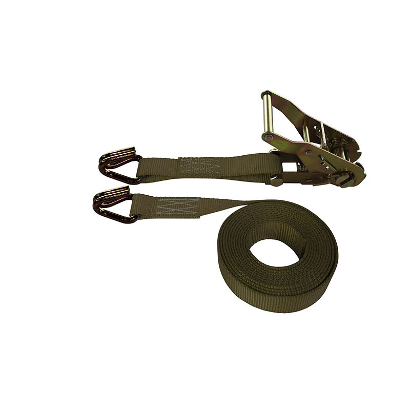 1-Inch Ratchet Strap With Wire Hooks and Brown Webbing