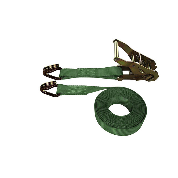1-Inch Ratchet Strap With Wire Hooks and Green Webbing