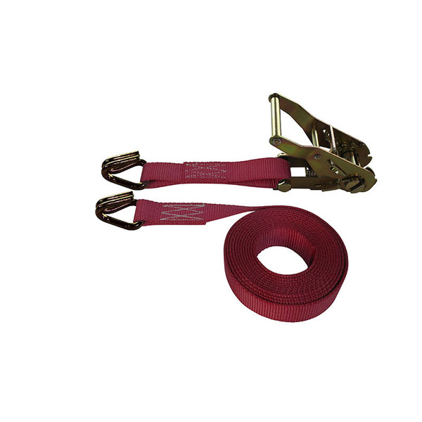1-Inch Ratchet Strap With Wire Hooks and Maroon Webbing