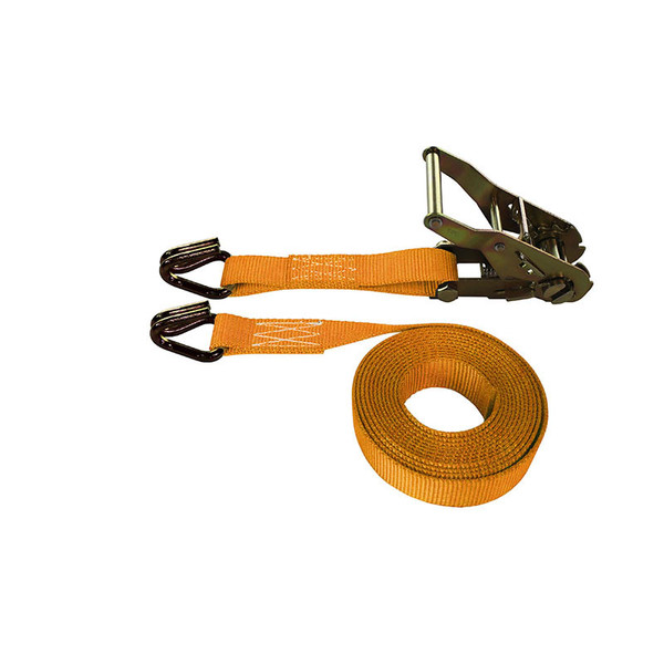 1-Inch Ratchet Strap With Wire Hooks and Orange Webbing