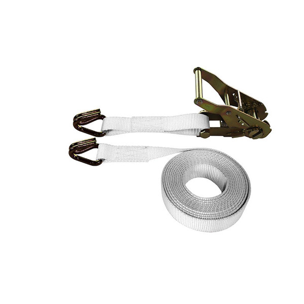 1-Inch Ratchet Strap With Wire Hooks and White Webbing