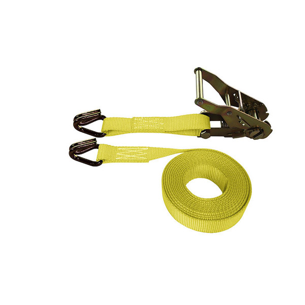 1-Inch Ratchet Strap With Wire Hooks and Yellow Webbing