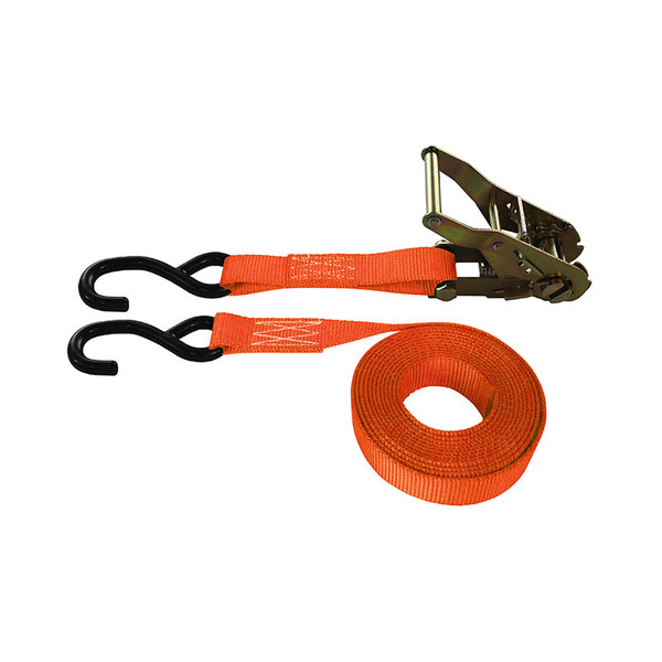 1-Inch Ratchet Strap With Coated S-Hooks and Orange Webbing