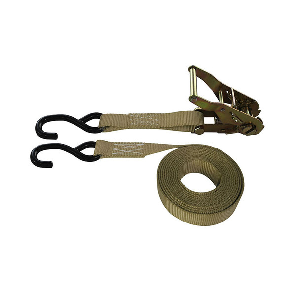 1-Inch Ratchet Strap With Coated S-Hooks and Tan Webbing
