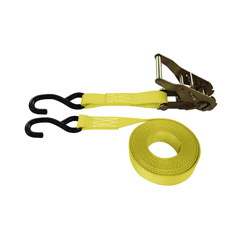 1-Inch Ratchet Strap With Coated S-Hooks and Yellow Webbing