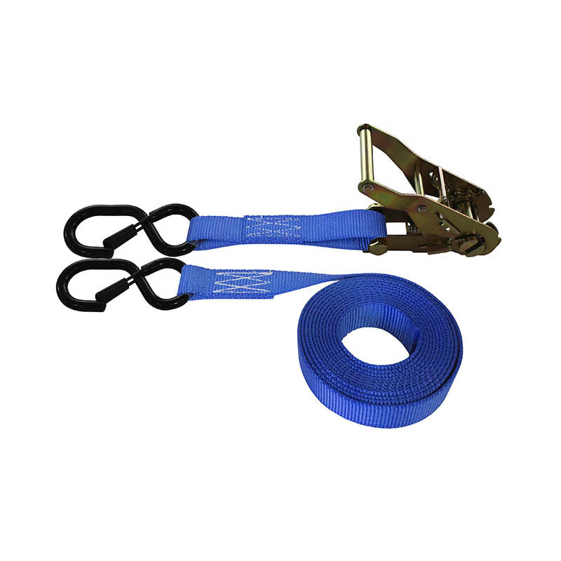 1-Inch Ratchet Strap With Vinyl-Coated S-Hook With Keeper and Blue Webbing
