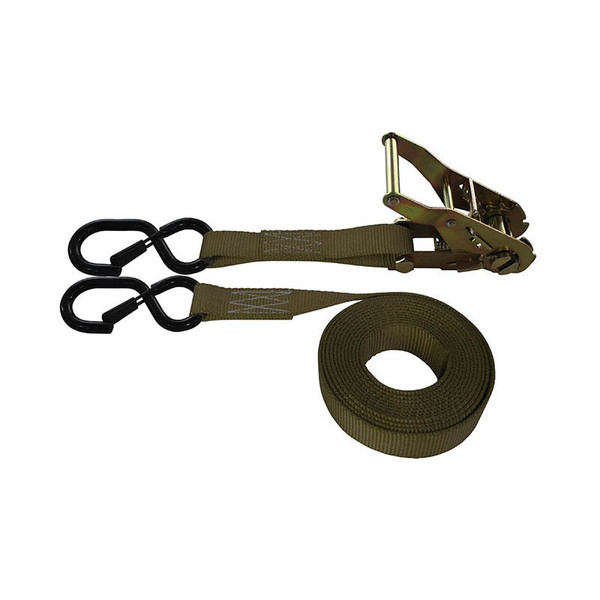 1-Inch Ratchet Strap With Vinyl-Coated S-Hook With Keeper and Brown Webbing