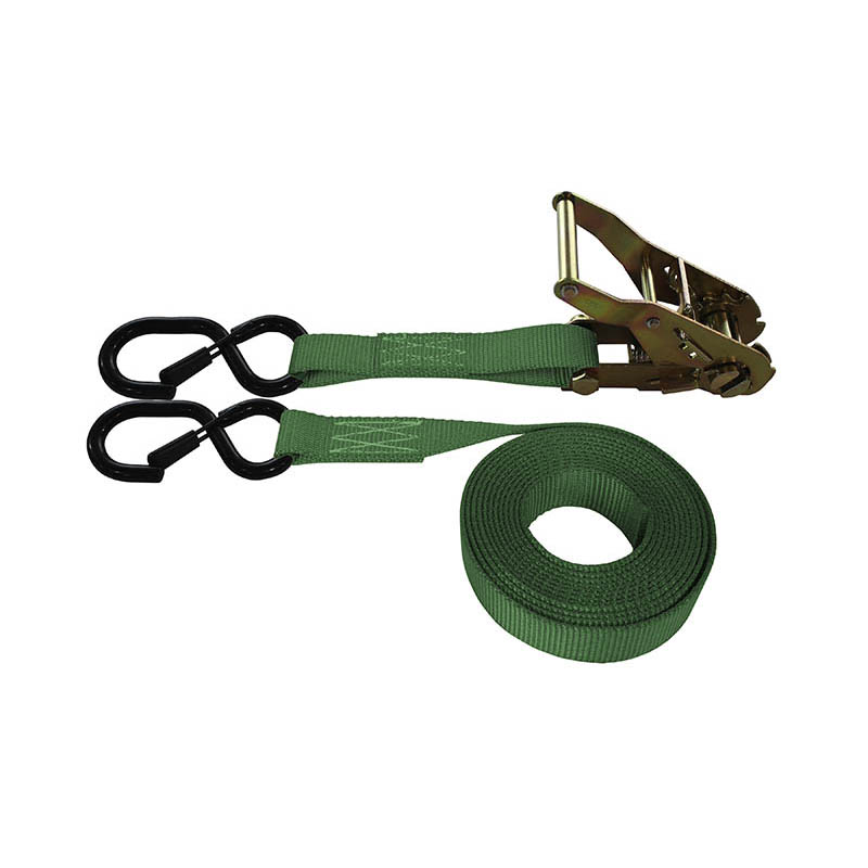 1-Inch Ratchet Strap With Vinyl-Coated S-Hook With Keeper and Green Webbing