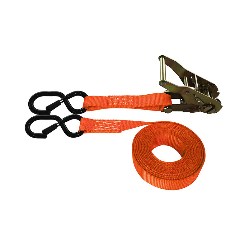 1-Inch Ratchet Strap With Vinyl-Coated S-Hook With Keeper and Orange Webbing