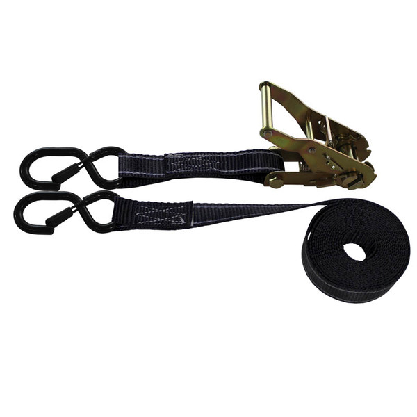 1-Inch Ratchet Strap With Vinyl-Coated S-Hook With Keeper and Reflective Black Webbing