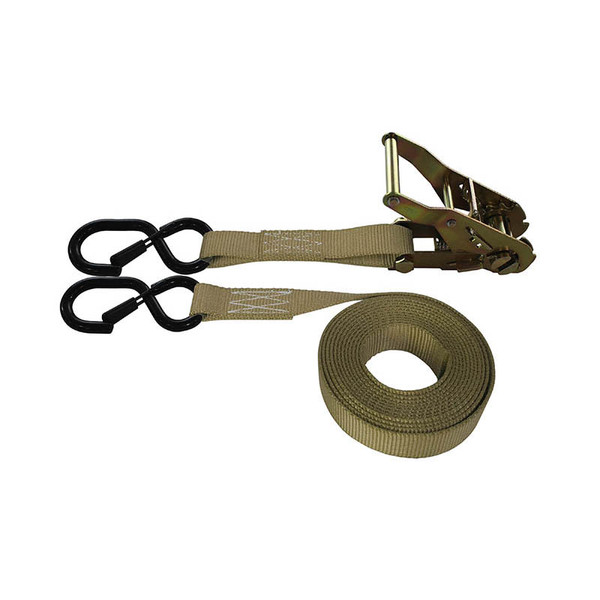 1-Inch Ratchet Strap With Vinyl-Coated S-Hook With Keeper and Tan Webbing