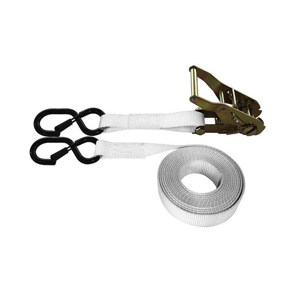 1-Inch Ratchet Strap With Vinyl-Coated S-Hook With Keeper and White Webbing