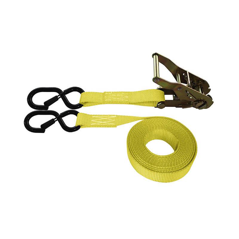 1-Inch Ratchet Strap With Vinyl-Coated S-Hook With Keeper and Yellow Webbing