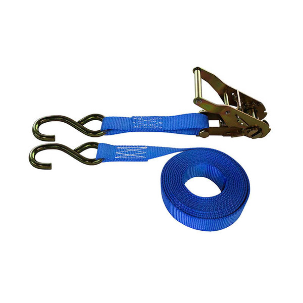 1-Inch Ratchet Strap With Zinc S-Hooks and Blue Webbing