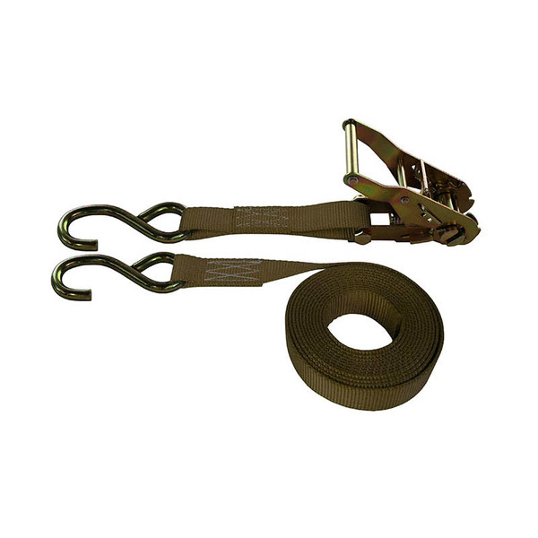 1-Inch Ratchet Strap With Zinc S-Hooks and Brown Webbing