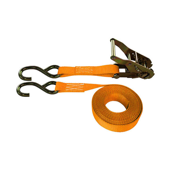 1-Inch Ratchet Strap With Zinc S-Hooks and Orange Webbing