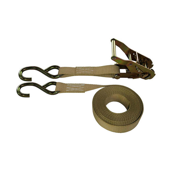 1-Inch Ratchet Strap With Zinc S-Hooks and Tan Webbing