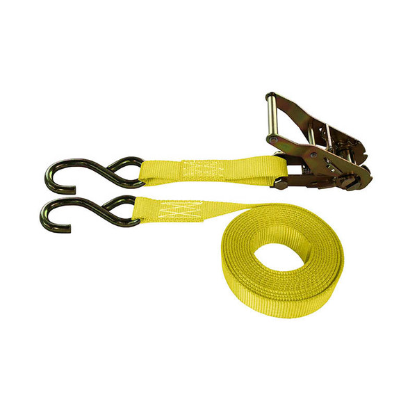 1-Inch Ratchet Strap With Zinc S-Hooks and Yellow Webbing