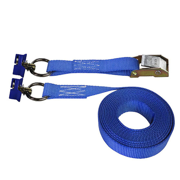 Blue 1 Inch Cam Buckle Strap with Blue L-Track Fittings