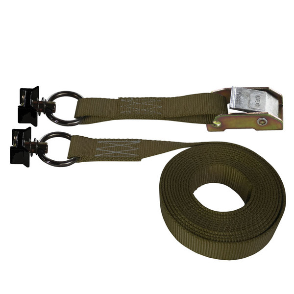Brown 1 Inch Cam Buckle Strap with Black L-Track Fittings